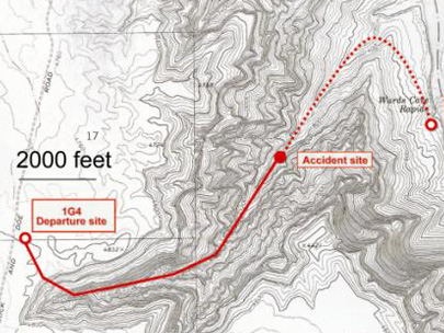 Figure 1. Topographic chart showing the 1G4 departure site, the accident site, and the prescribed route through Descent Canyon to the Beach helipad.